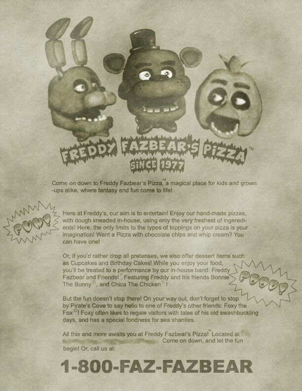 The Actual Poster For Freddy Fazbear S Pizza Five Nights At Freddy S Fnaf Fnaf Drawings