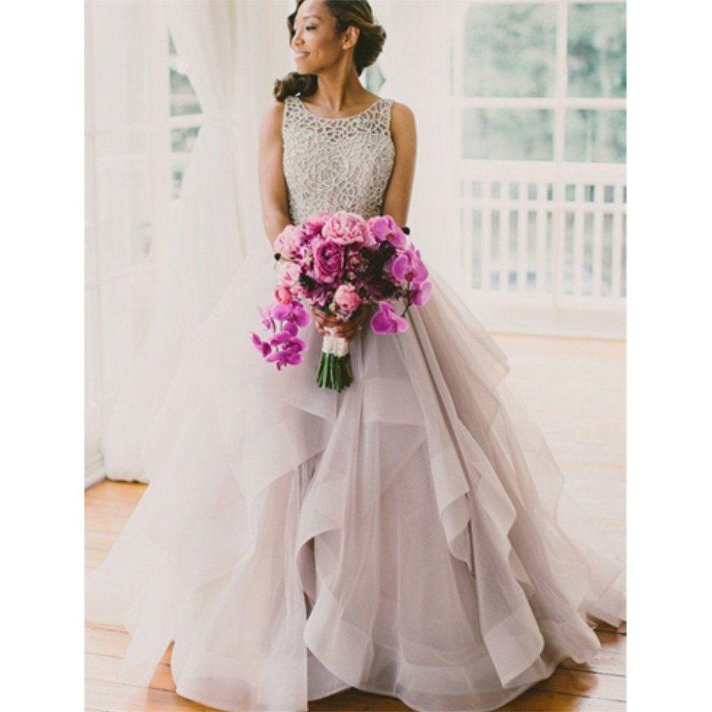 Atlanta wedding dress shops  Aline Floorlength Crew Court Train Organza Lace Grey Open Back
