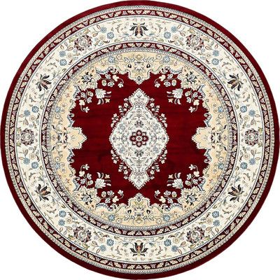 Charlton Home Courtright Burgundy/Tan Area Rug Rug Size: