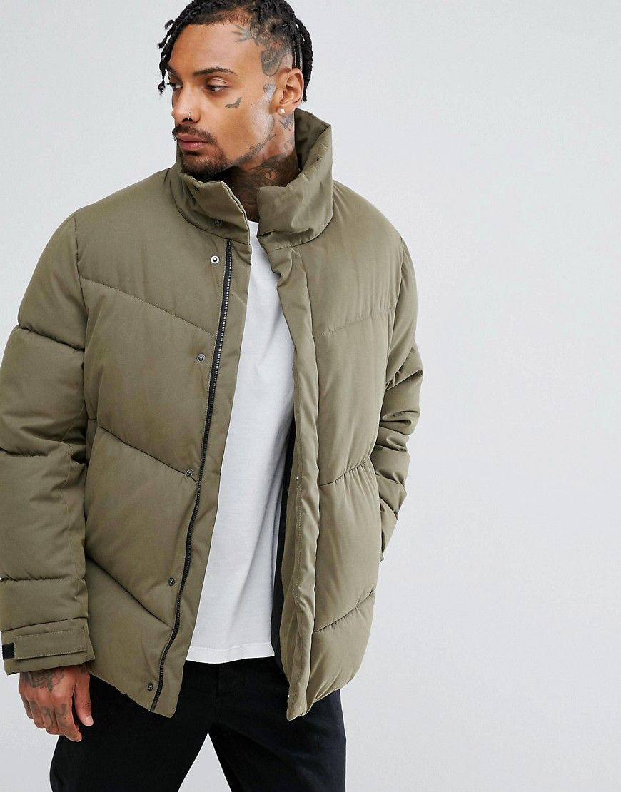c41852f1c ASOS Oversized Puffer Jacket in Khaki - Green | AW18 Trend Board in ...