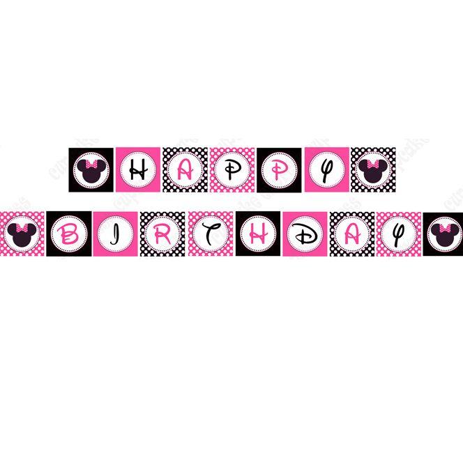 Free Printable Birthday Banners Minnie Mouse Pink Printable