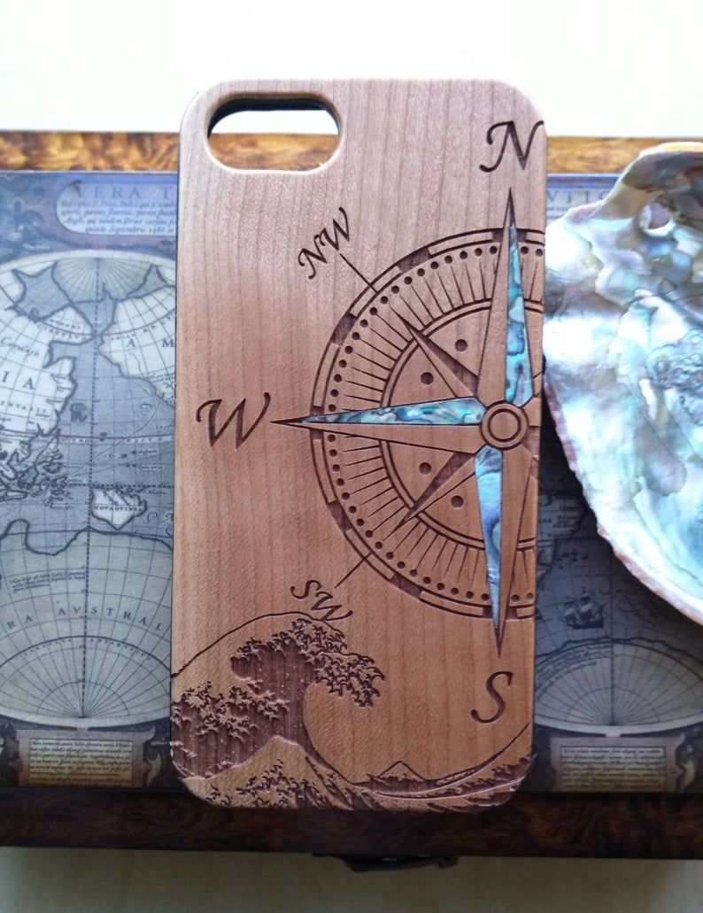 Iphone case compass design wooden phone case abalone