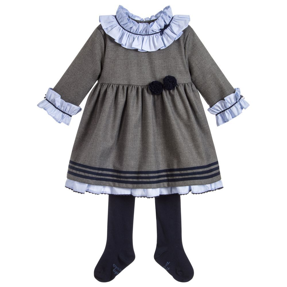 1afe8e1a1 Grey Flannel Dress Set for Girl by Tutto Piccolo. Discover more ...