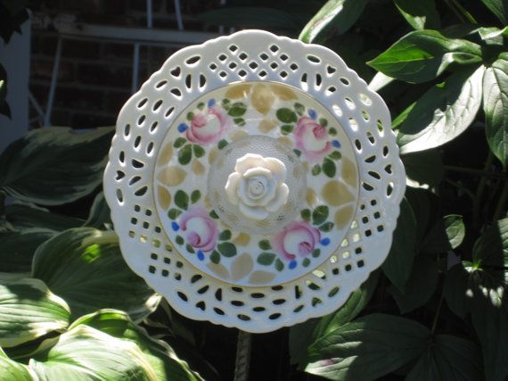 "Repurposed Gl Garden Art - ""Rosey Chic"" is a Vintage China Garden"