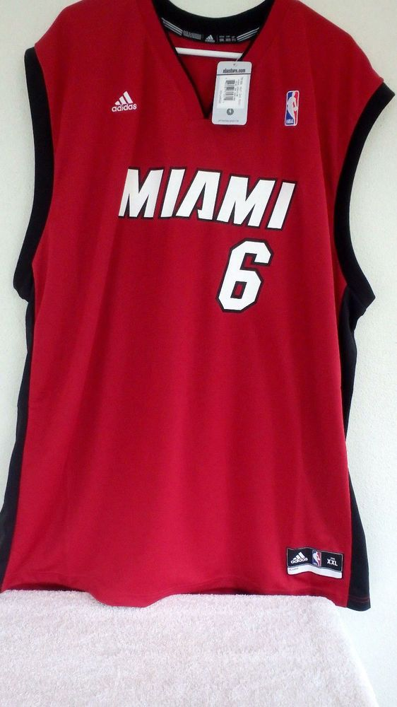 online store 93a00 994ed Adidas Men Lebron James #6 Miami Heat Alt Red 2nd Road ...