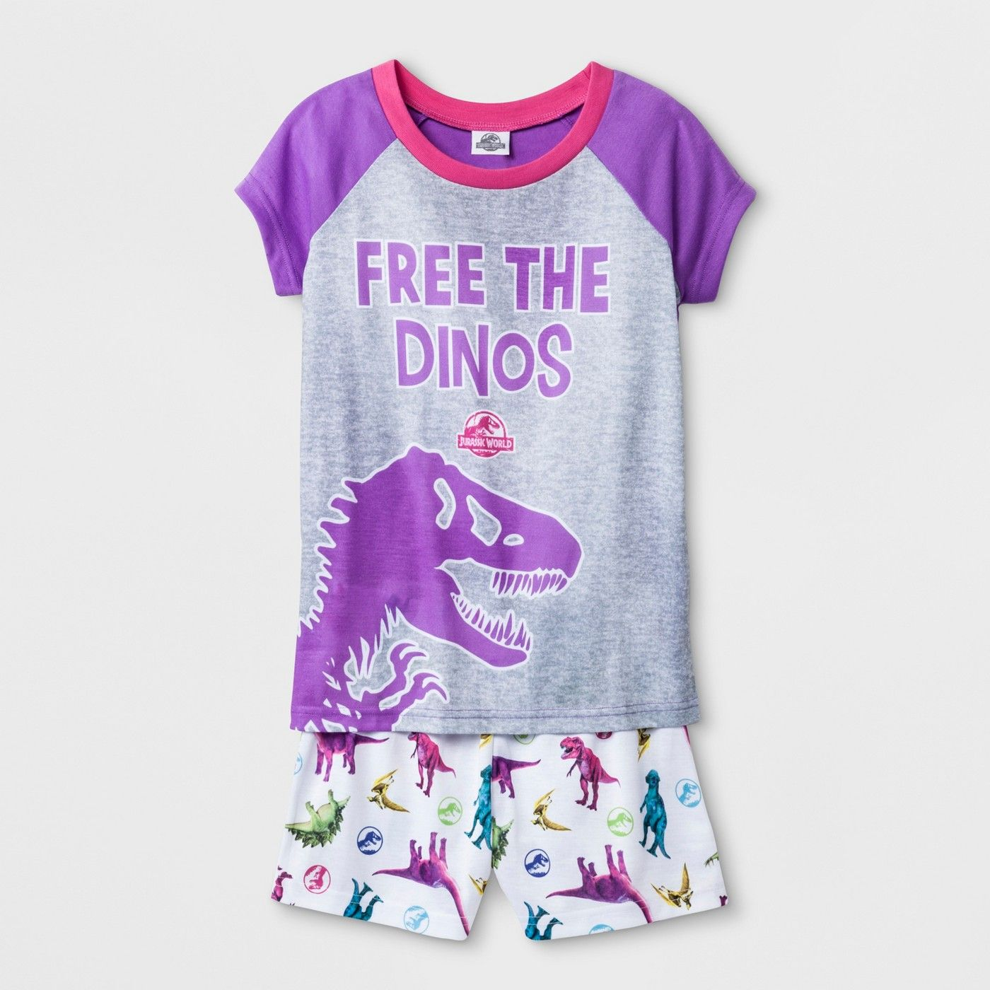 2d85f5af0 Girls  Jurassic World  Free The Dinos  2pc Pajama Set - Purple M  World