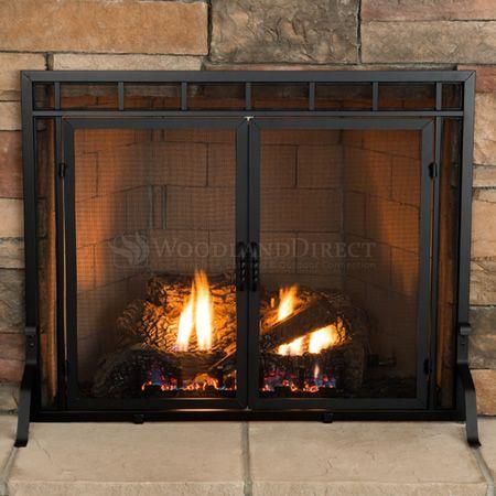 Adams Mission Style Window Pane Fireplace Door Screen 39 W X 31