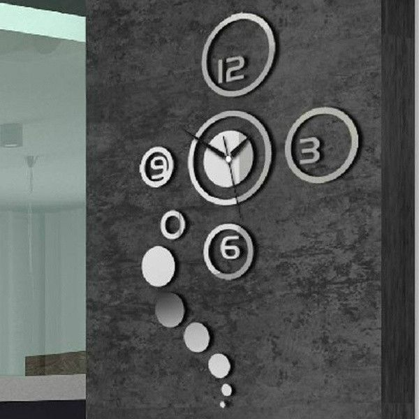 New Arrival Diy Personalized Clock 3d Home Modern Decoration Mirror Living Room Wall Silver