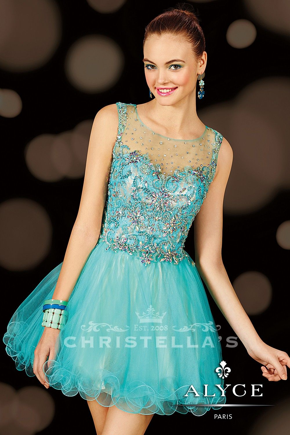 Scattered sparkle on this dazzling short dress is divine and dreamy ...