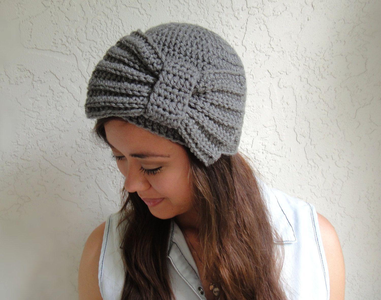 Gray+Crocheted+Hat+with+Oversized+Bow+door+vintagelookcreations,+$18,95