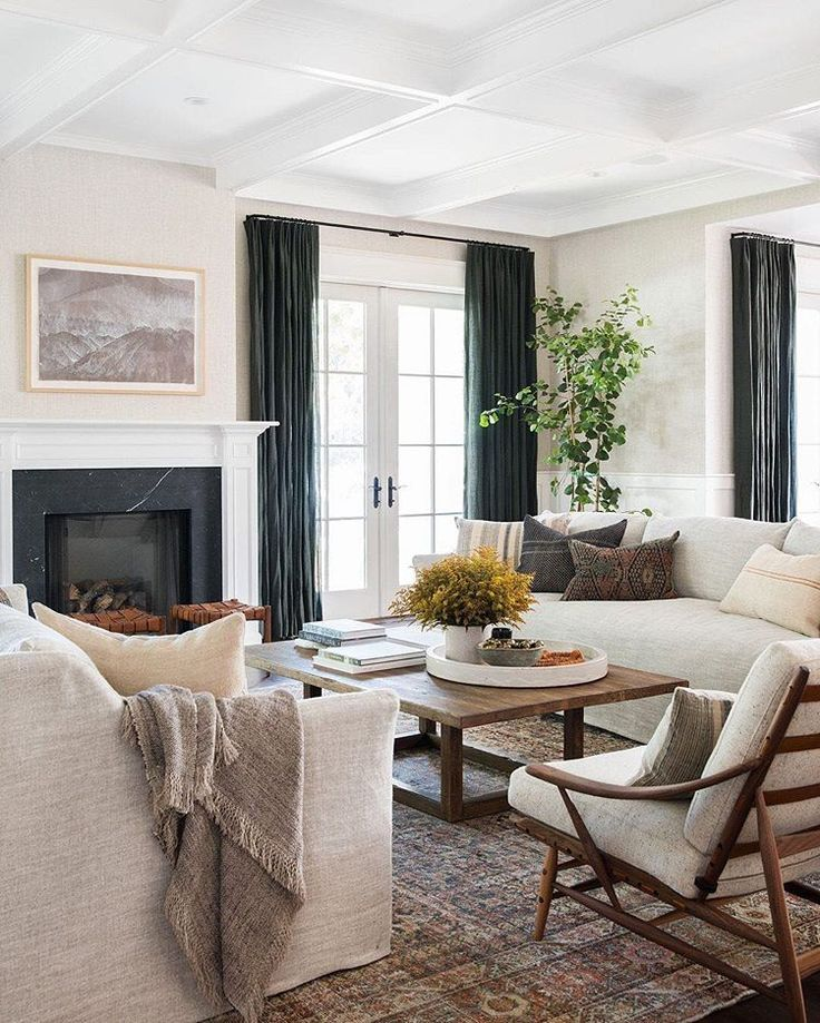 Neutral Living Room With Traditional Fireplace In 2019: Neutral Living Room With Fireplace Design