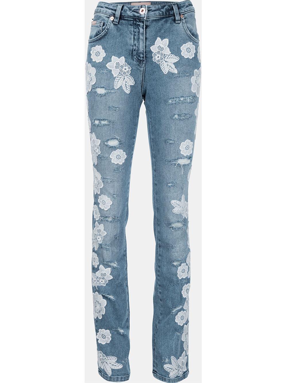 08ad0536b Blumarine Calça jeans com aplicações de renda | stiching | Lace ...