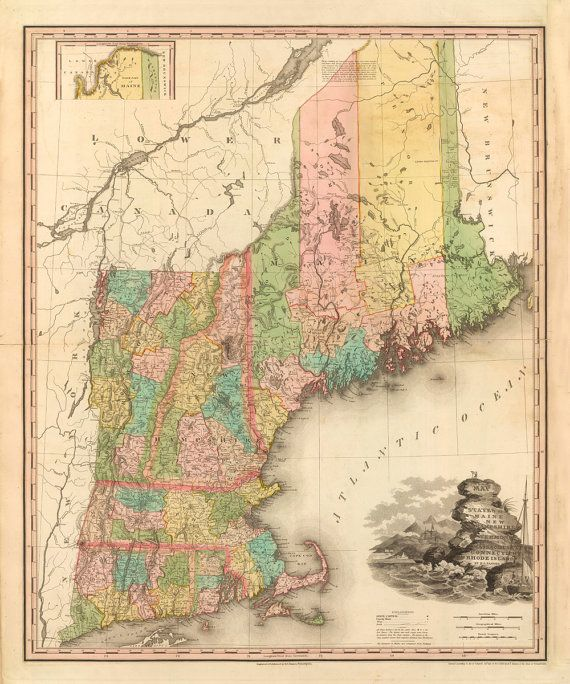Fixing Up An Old New Englander In Maine: Vintage 1833 Map Of New England By AtomicPhoto On Etsy