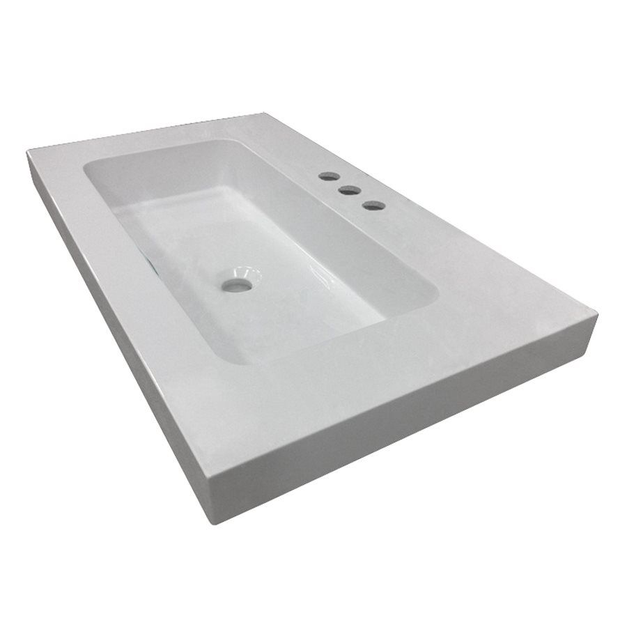 Style Selections White Cultured Marble Integral Bathroom Vanity Top 37 In X  22 In