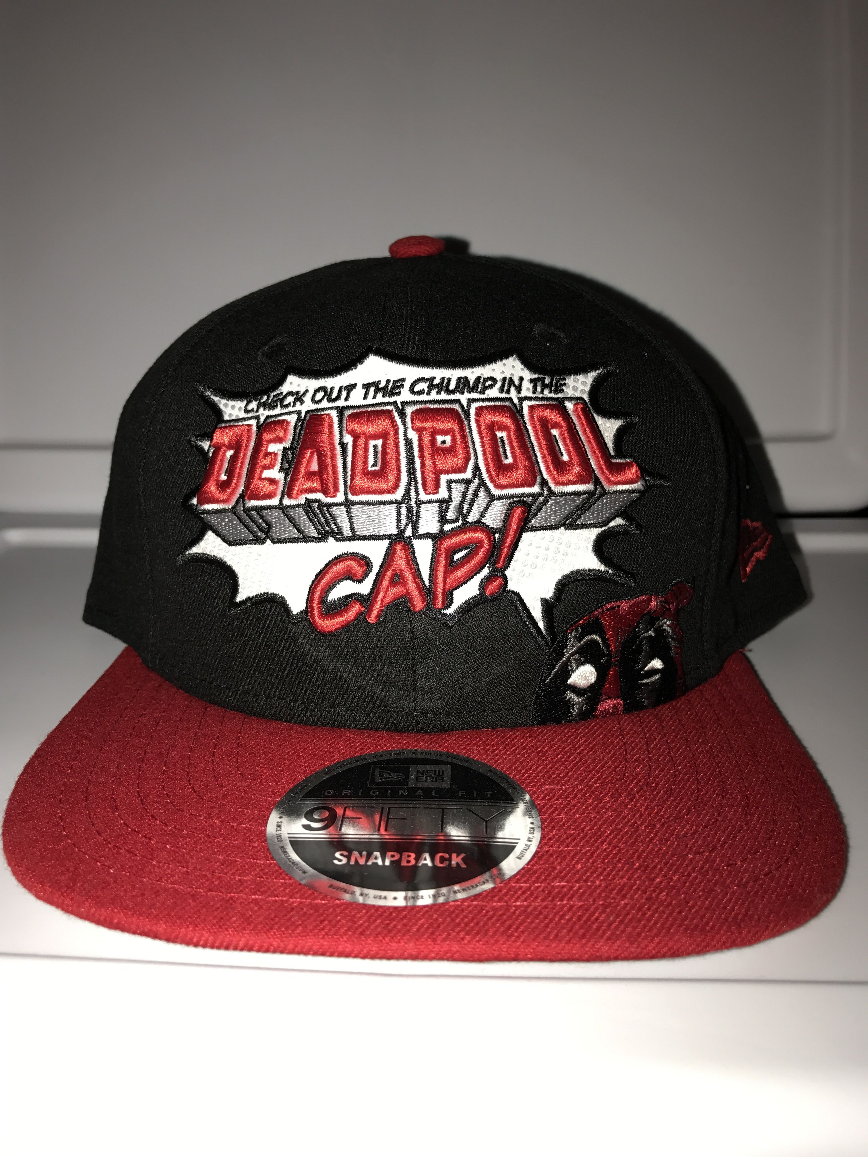 ad4945d6dc09f ... italy new era marvel check out the chump in the deadpool cap snapback  9fifty with what