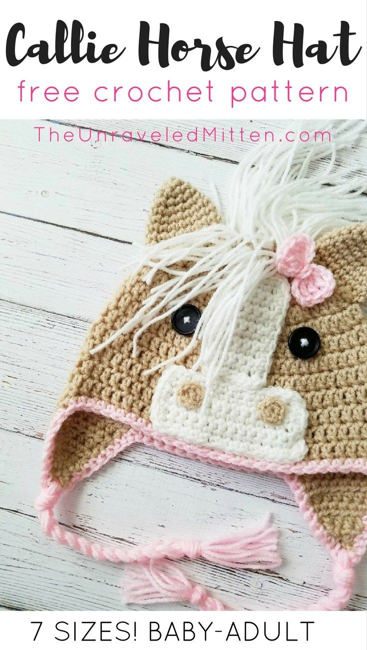 The Callie Horse Hat: Free Crochet Pattern | Gorros, Punto bebé y ...