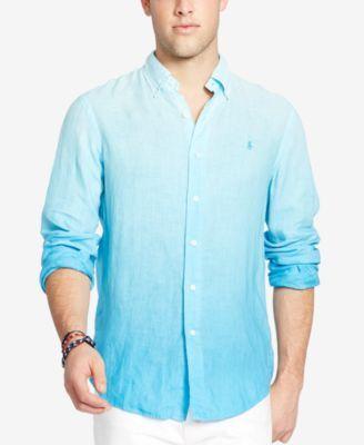Polo Ralph Lauren Men's Long-Sleeve Ombré Linen Sport Shirt $89.99 A cool  spin on