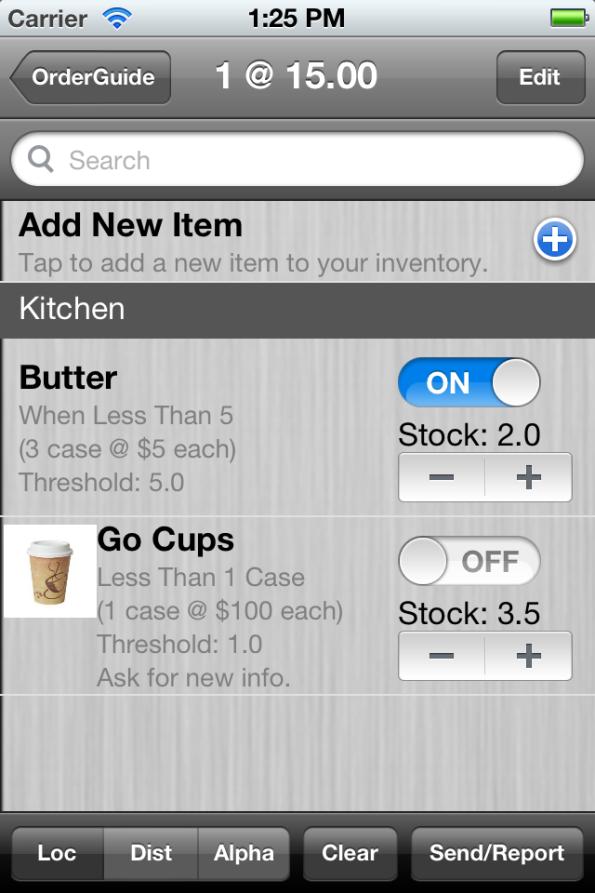 OrderGuide Restaurant Inventory App