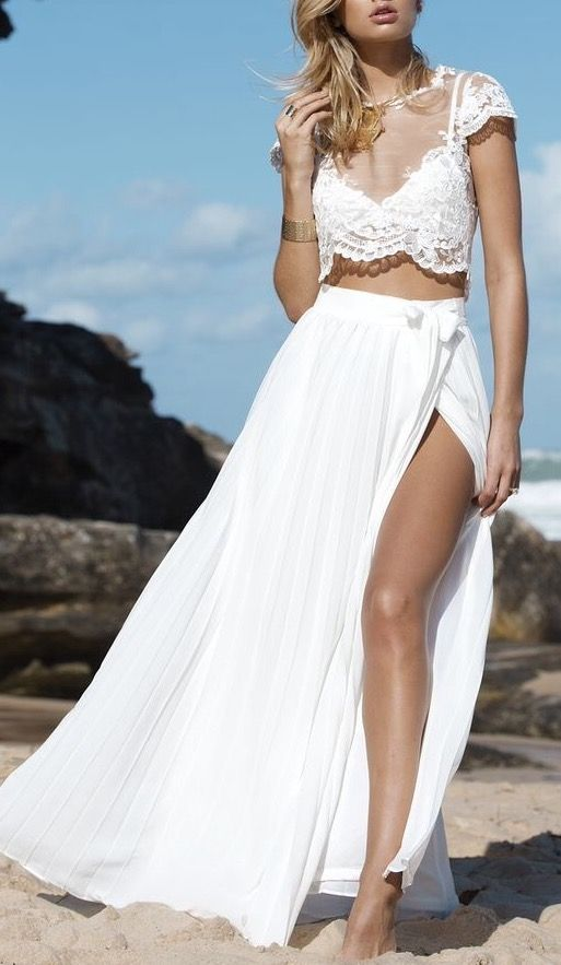 cdbe312ea3d8c WHITE MOON PLEAT CHIFFON MAXI SKIRT in WHITE in 2019 | .wedding ...