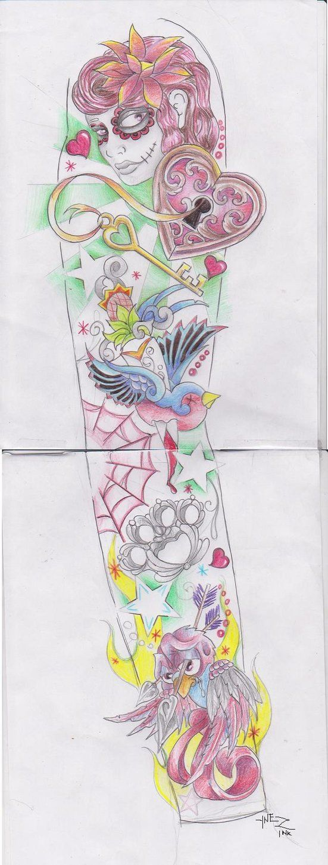 Girly sleeve by kymynez on deviantart tattoos for Girly arm sleeve tattoos