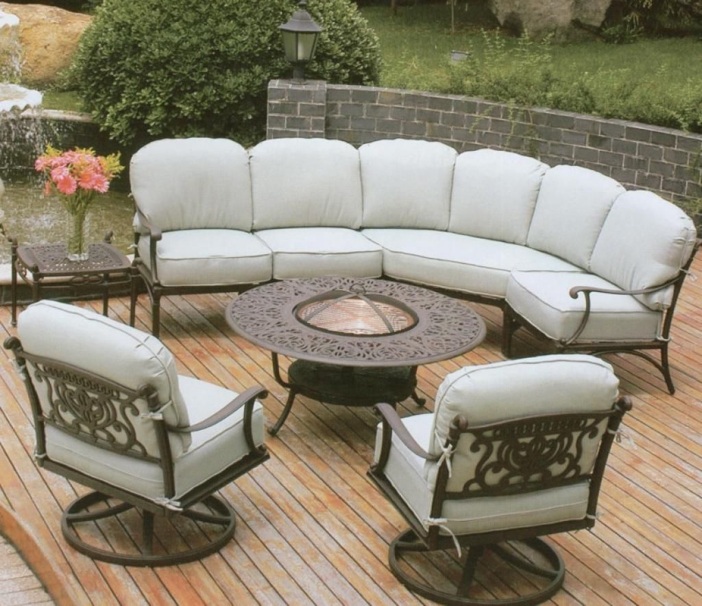 Beautiful Outdoor Furniture With Wrought Iron Sofa Base With White Seat And Round Wrought Iron