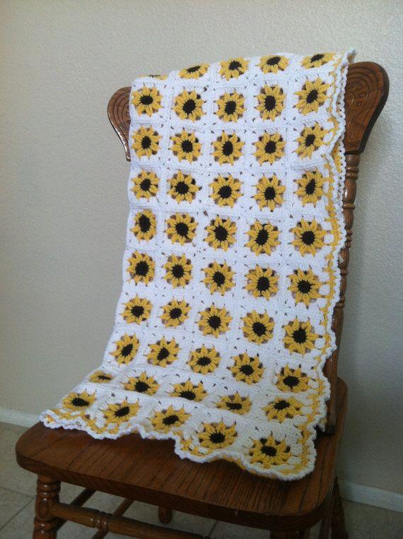 Sunflower Square Blanket Crochet Pattern Crafty Kitty Crochet Crochet Blanket Patterns Crochet Sunflower Crochet Squares