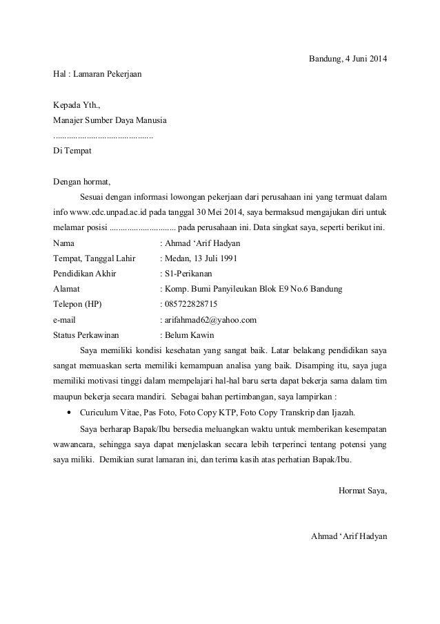 Surat Lamaran Untuk Job Fair Download Ben Jobs Contoh Lamaran