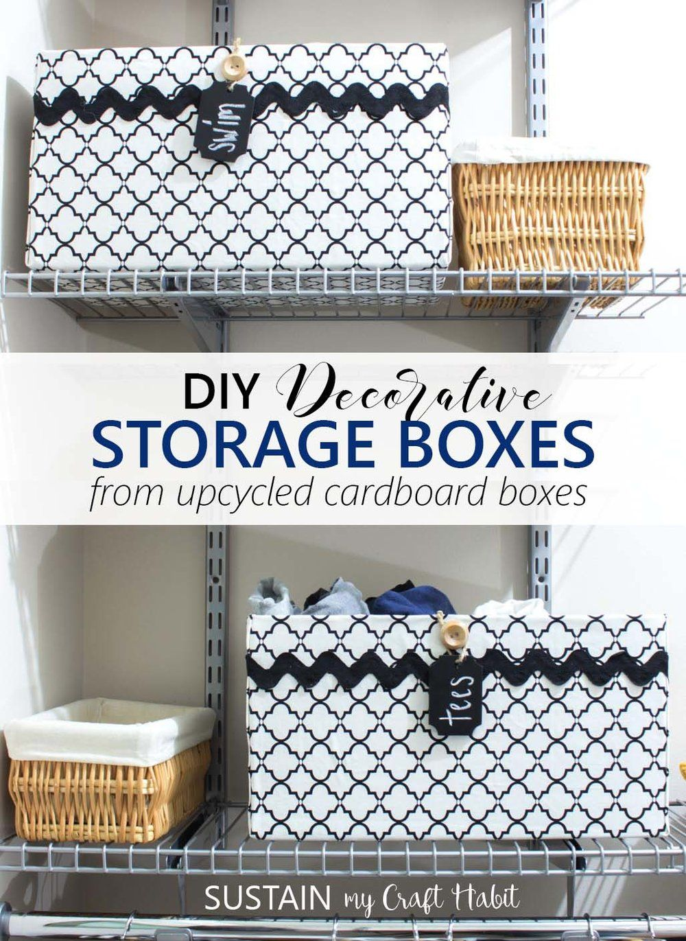 Diy Storage Container Ideas Part - 27: DIY Upcycled Cardboard Box Storage Bins | Closet Organizing Ideas | How To  Make Black And