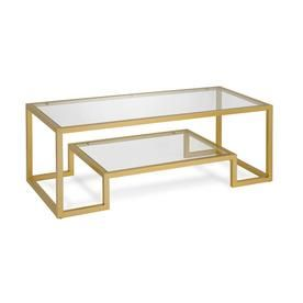 Hailey Home Athena 17in Coffee Table In Gold Glass Steel Ct0066 Geometric Coffee Table Coffee Table Gold Glass Coffee Table