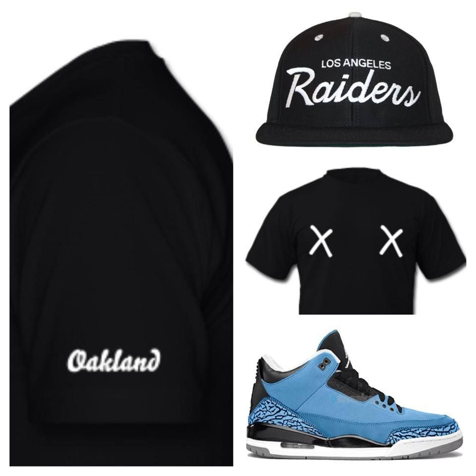 "Today's look !  Oakland tee by Alexandro's Casa x Los Angeles Raiders snapback by Mitchell & Ness x Air Jordan retro 3 ""Powder Blue""  Shop: http://www.alexandroscasa.com/  #alexandroscasa #oakland #outfitgrid #ootd #powderblue"