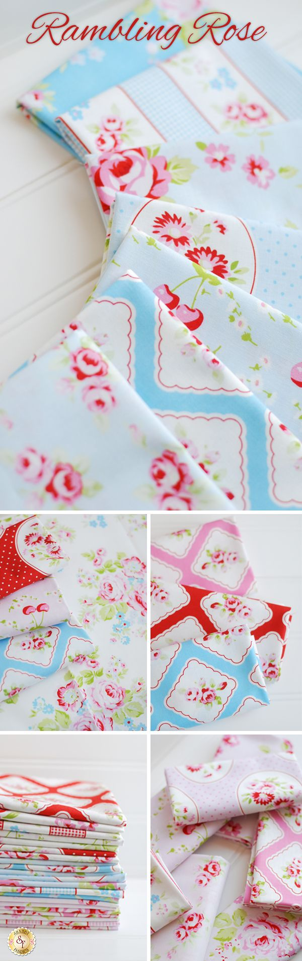 Rambling Rose by Tanya Whelan for Free Spirit Fabrics is a beautiful rose fabric collection available at Shabby Fabrics!
