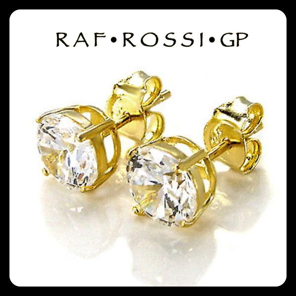 Cz Clear Stone Gold Plated Stud Earrings