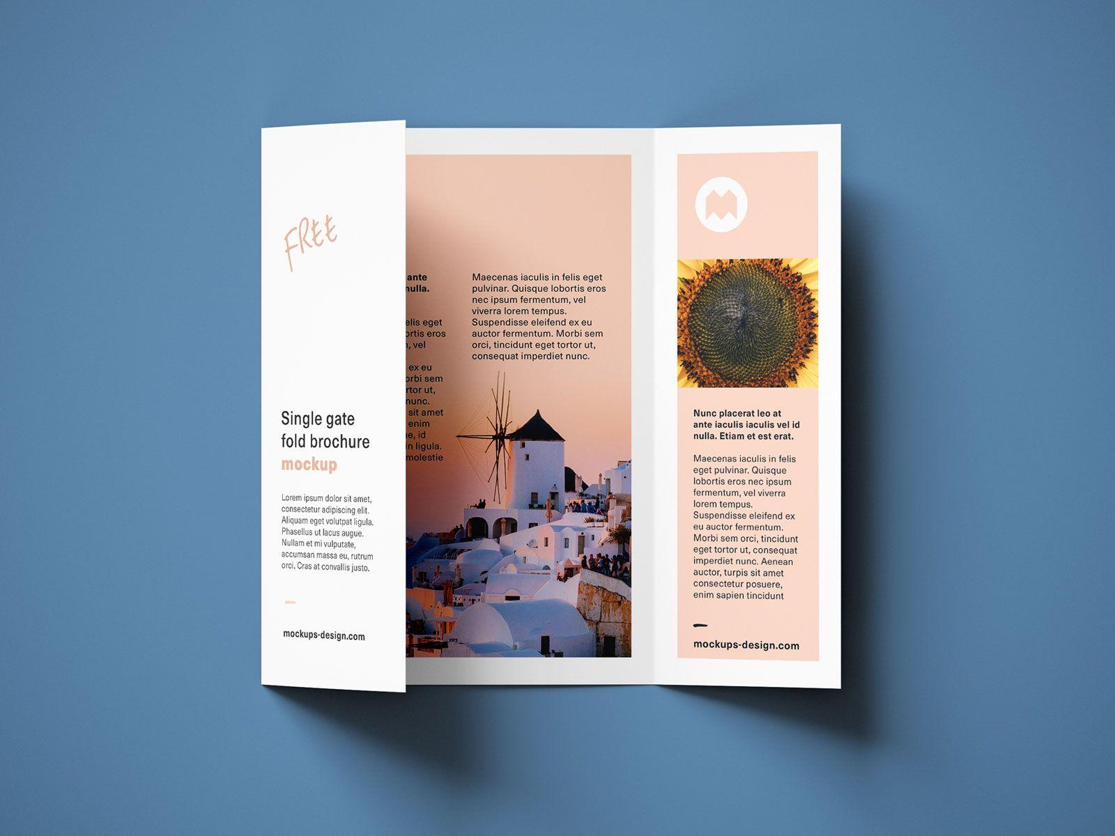 Free A4 Single Gate Fold Brochure Mockup Psd Set Good Mockups Graphic Design Brochure Brochure Brochure Mockup Psd