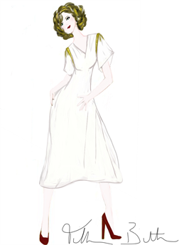 Dress In Soft White Knit Jersey With Gold Accents Www Elegantdesigns Name Fashion Design Sketches Fashion Design Knit Jersey