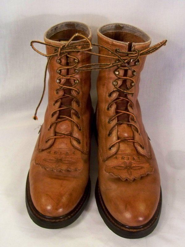 "Brown Ariat Cascade Lace Up 8"" Roper Work Boots 37180 11 D #Ariat #CowboyWestern"