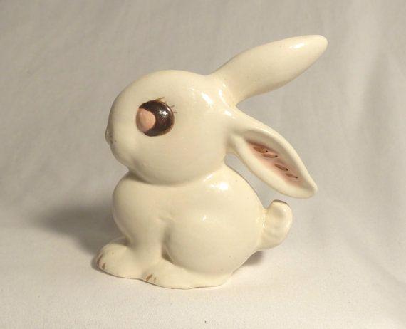 1980s Bunny Rabbit Figurine Baby Nursery Decor Hand by jazzjodi