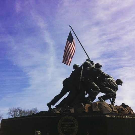 The @marines #iwojima #memorial stands strong on this #windyday in #DC (well technically #Virginia)