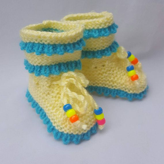 Knitted Baby Booties with ropes by NadiaKnittedCreation on Etsy