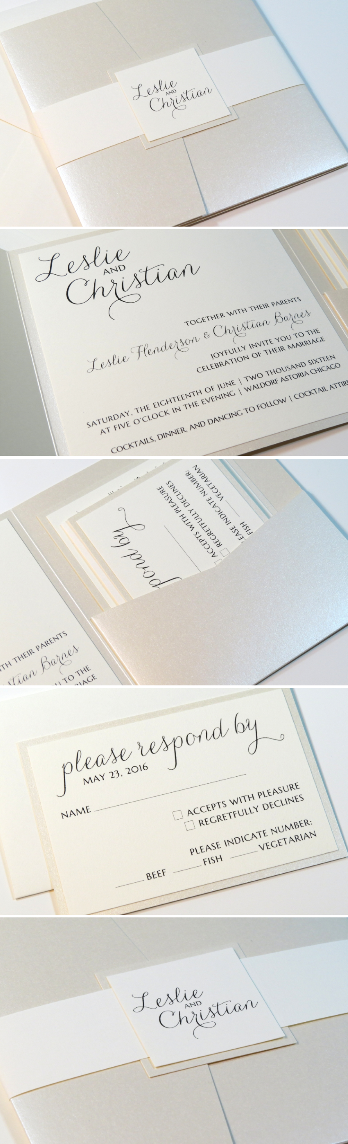 Romantic Cream, Opal, Champagne, Ivory Wedding Invitation Suite ...