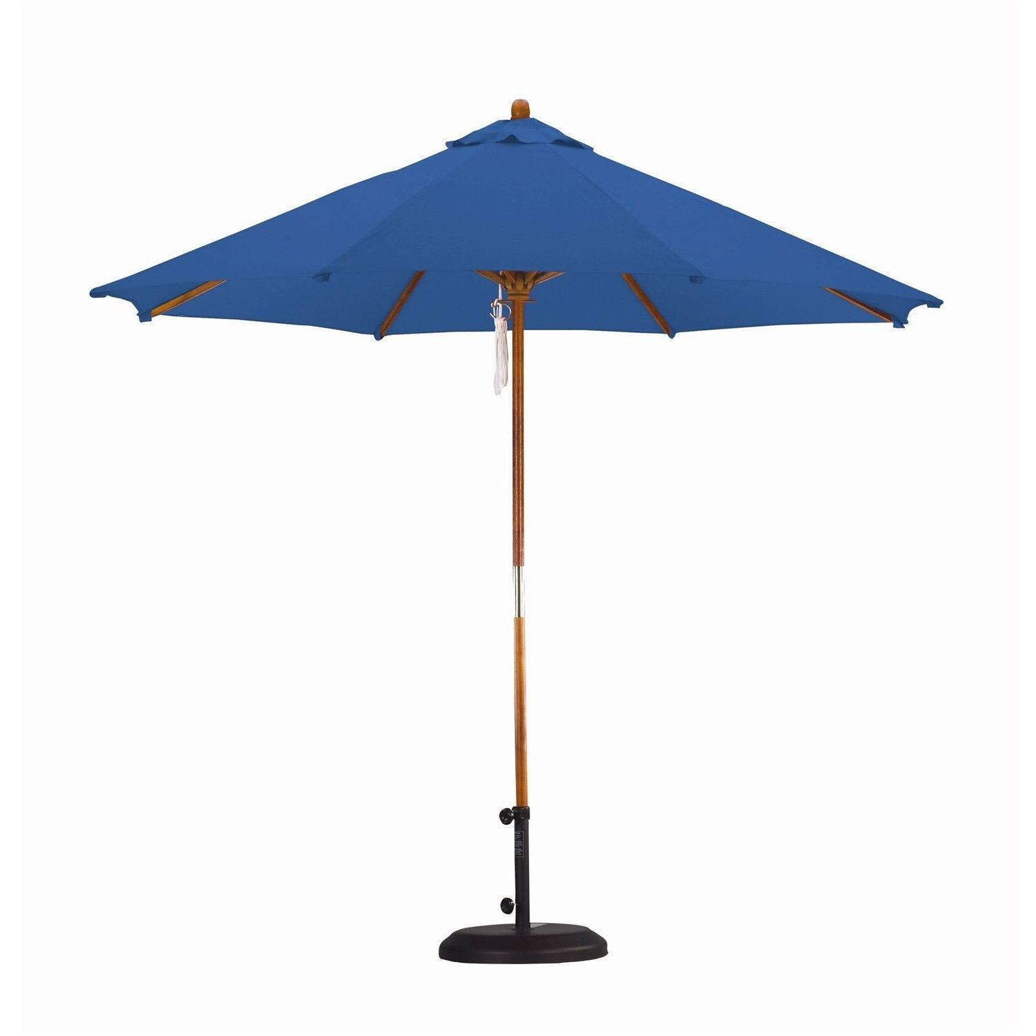 9 Ft Pulley Patio Umbrella with Pacific Blue Canopy