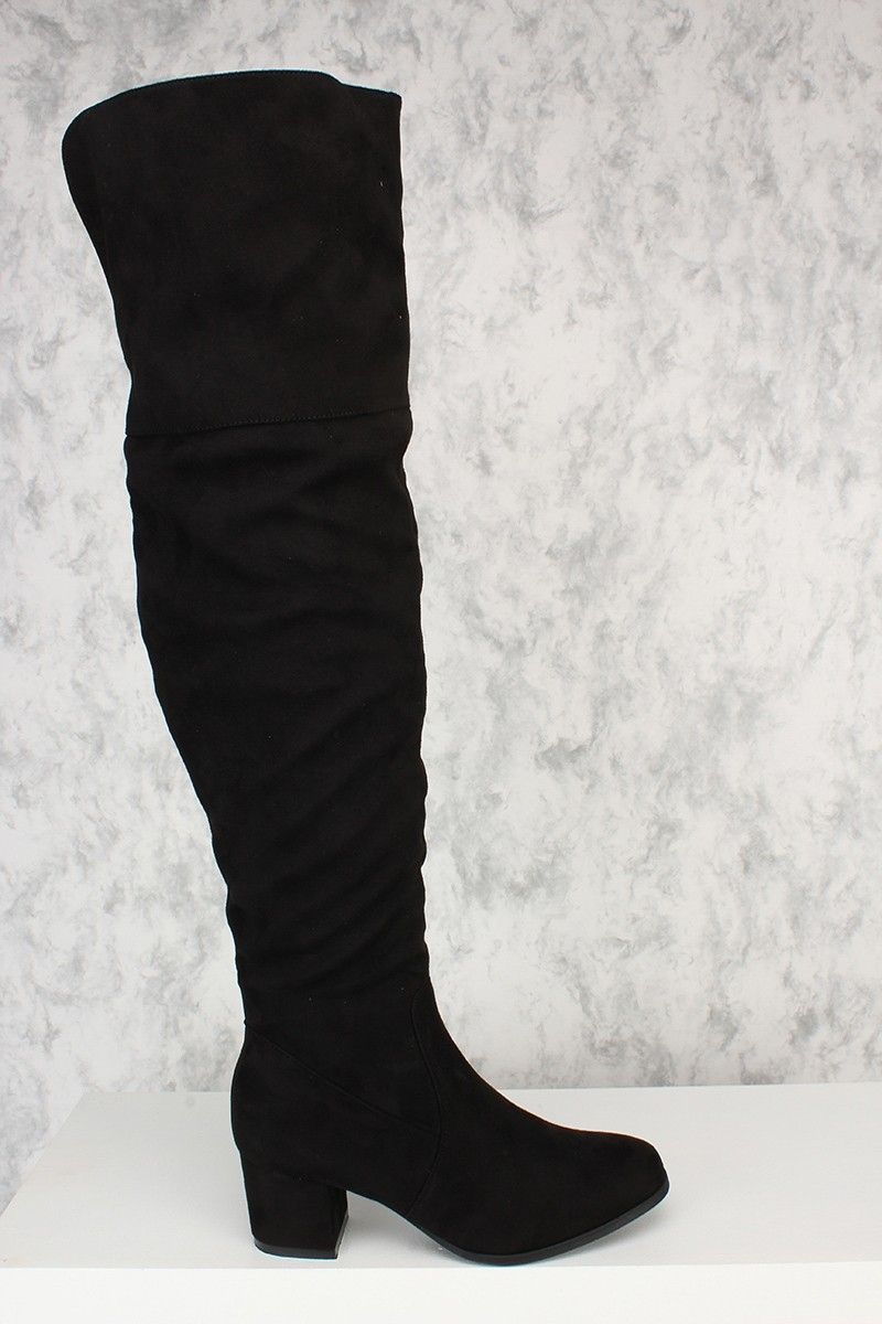eb6b543f6ab4 Black Flared Open Back Round Toe Over The Knee Chunky Heel Boots ...