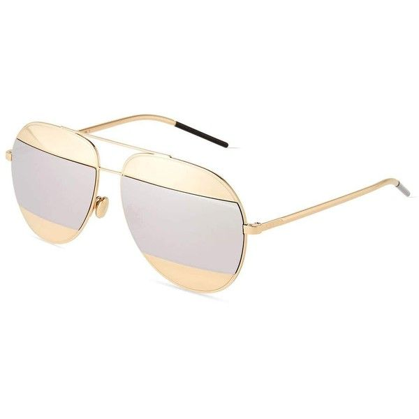 f02af033ccddde Dior DiorSplit Two-Tone Metallic Aviator Sunglasses ( 555) ❤ liked on  Polyvore featuring accessories, eyewear, sunglasses, christian dior  sunglasses, ...