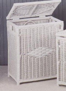 Diamond wicker laundry hamper in white with lid and handles medium size by wicker paradise - White wicker clothes hamper ...