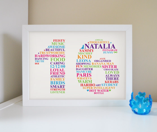 16th BIRTHDAY WORD ART GIFT PERSONALISED SIXTEEN PRESENT ANY COLOURS /& WORDS