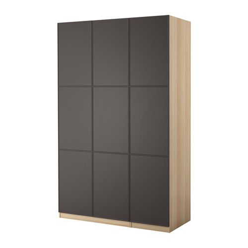 Pax wardrobe white stained oak effect mer ker grey 150x60x236 cm pax wardro - Penderie souple ikea ...
