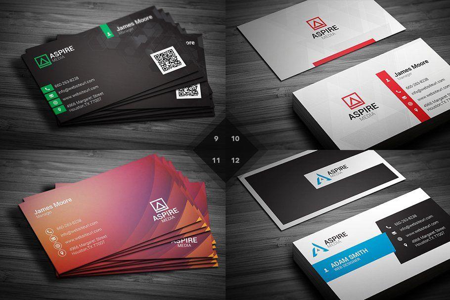 12 Modern Business Cards Bundle V3 Business Cards Modern Card