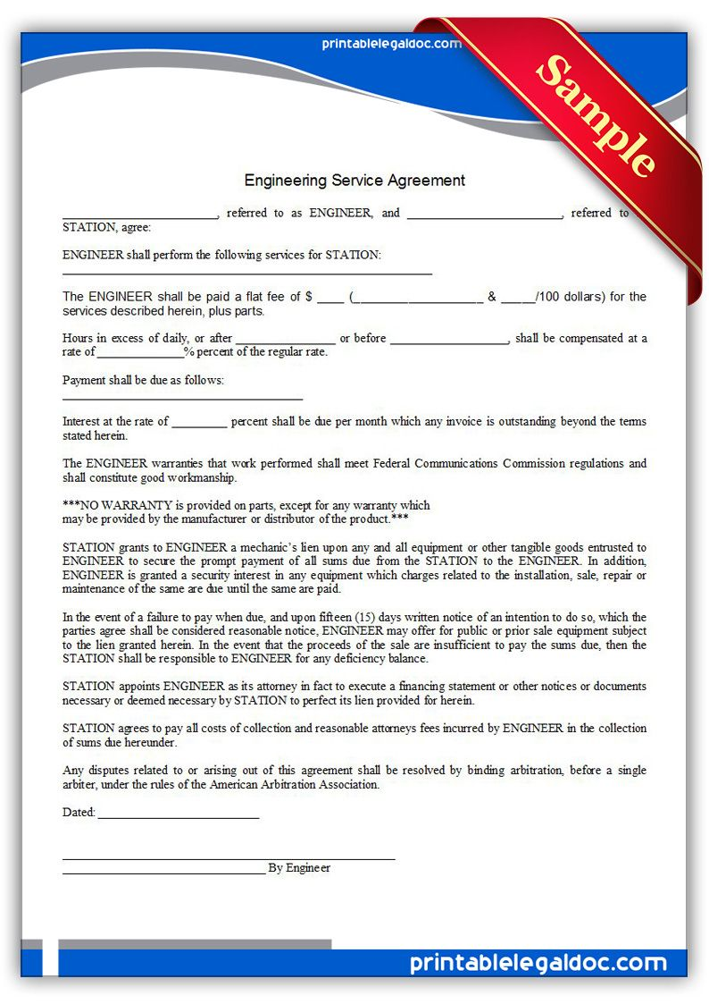 Printable Engineering Service Agreement Template PRINTABLE LEGAL - American legal forms