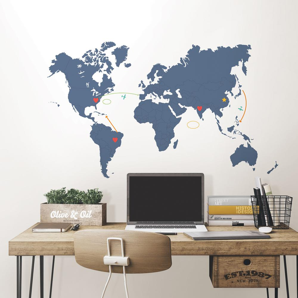 Wall Pops 48 In X 72 In Blue Destination World Map Wall Art Kit Wpk2453 The Home Depot In 2020 World Map Wall Art Map Wall Art World Map Wall Decal
