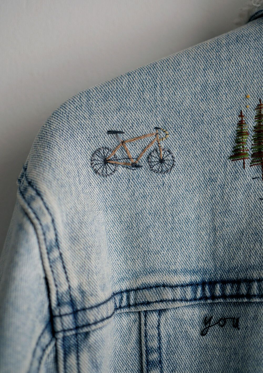 Ink & Thimble Denim Jacket Embroidery with Embroidered Bike
