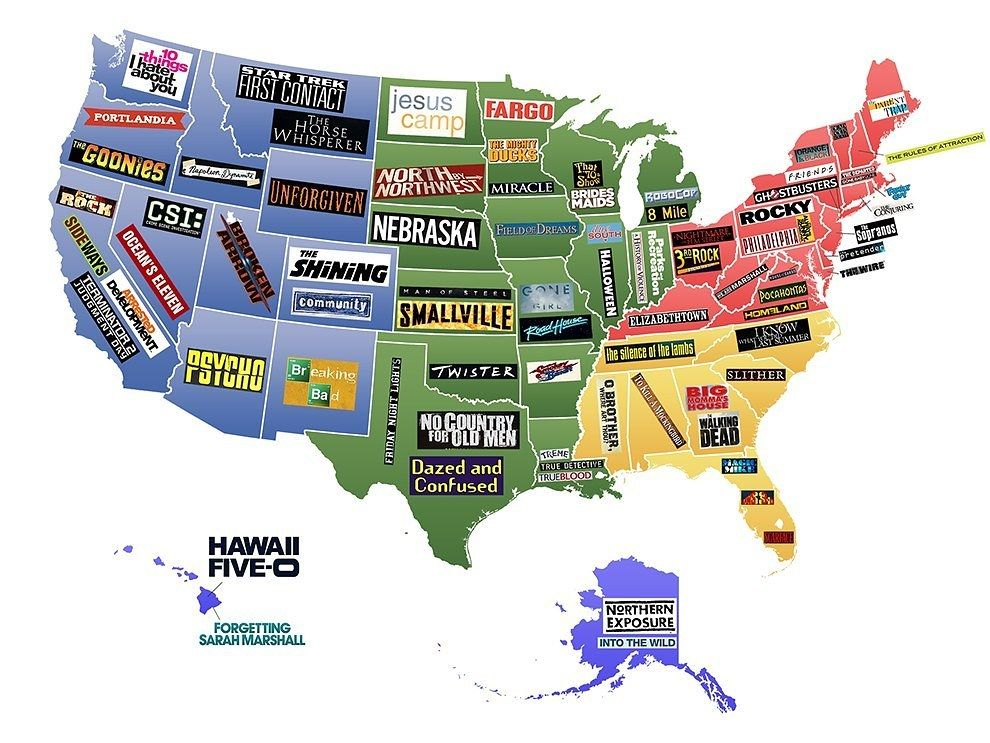 This Map Shows Famous Movies TV Shows Set In Each US State